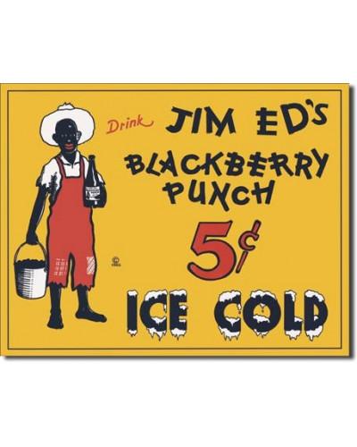 Plechová ceduľa Jim Eds Blackberry Punch 40 cm x 32 cm
