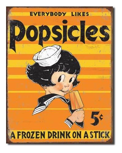 Plechová ceduľa Popsicle - everbody Likes 40 cm x 32 cm