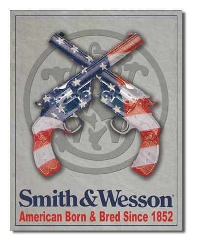 Plechová ceduľa S & W American Born 32 cm x 40 cm