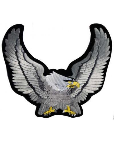Moto nášivka Orol strieborný 21 cm x 17 cm