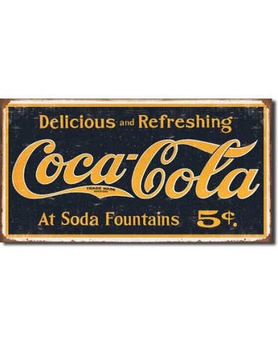 Plechová ceduľa Coca Cola 1910 logo Weathered 24cm x 40 cm