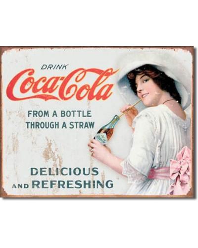 Plechová ceduľa Coca Cola - Thru a Straw 32cm x 40 cm