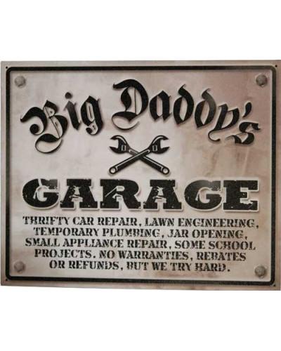 Plechová ceduľa Big Daddys Garage 30 cm x 38 cm