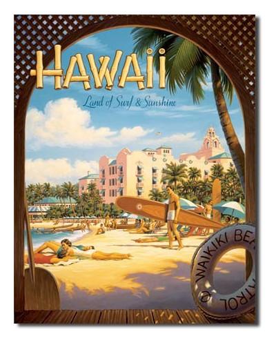 Plechová ceduľa Hawaii Sun and Surf 40 cm x 32 cm