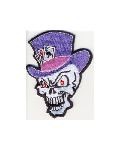 Moto nášivka Skull with Hat and Cards 9cm x 6,5cm