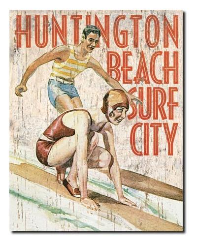 Plechová ceduľa Huntington Beach Surf Club 40 cm x 32 cm