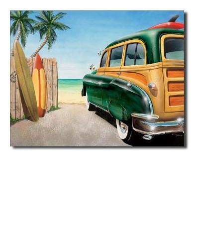 Plechová ceduľa Retro Auto Beach Woody 40 cm x 32 cm