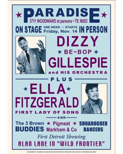 Koncertné plagát Dizzy + Ella, 1947