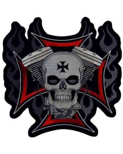 Moto nášivka BS Cross Motor Skull XXL na chrbát 28 cm x 27,5 cm