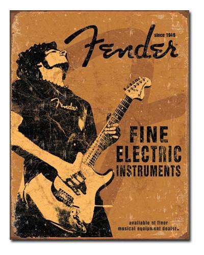 Plechová ceduľa Fender - Rock On 40 cm x 32 cm