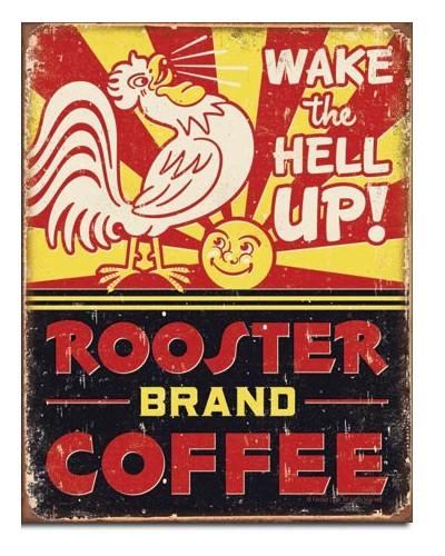 Plechová ceduľa Rooster Brand Coffee 40 cm x 32 cm
