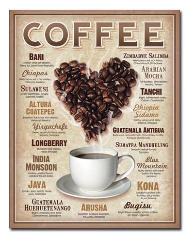 Plechová ceduľa Heart Coffee 40 cm x 32 cm