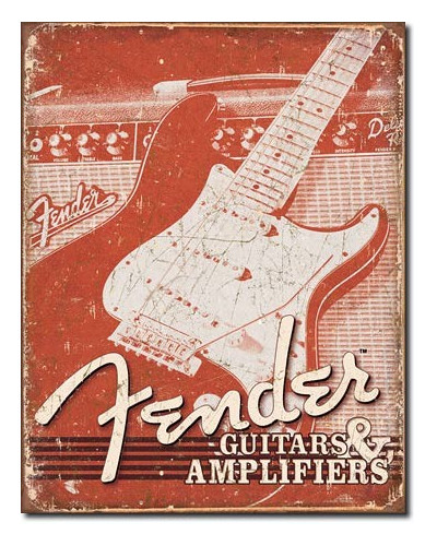 Plechová ceduľa Fender Weathered 40 cm x 32 cm