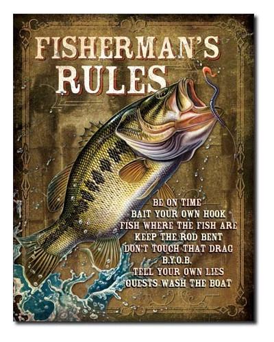 Plechová ceduľa JQ - Fisherman 's Rules 40 cm x 32 cm