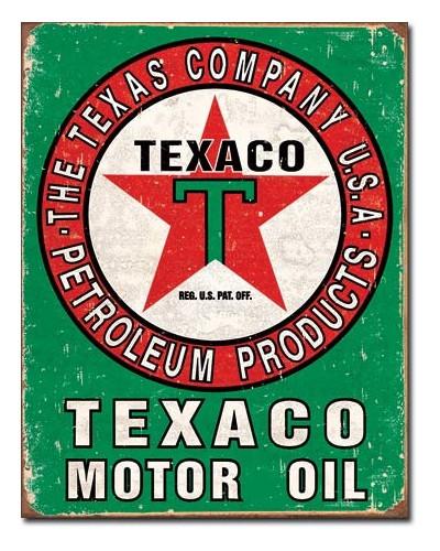 Plechová ceduľa Texaco Oil Weathered 32 cm x 40 cm
