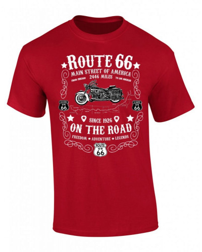 Tričko Route 66 On The Road červeno biele