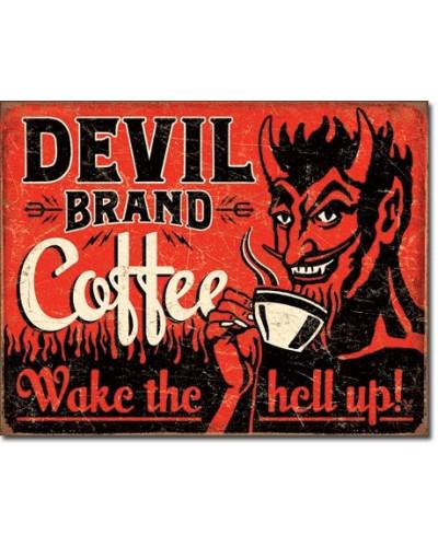 Plechová á ceduľa Devil Brand Coffee 40 cm x 32 cm