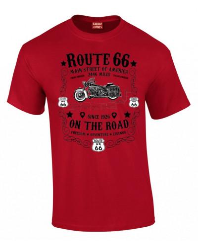 Tričko Route 66 On The Road červeno čiernej