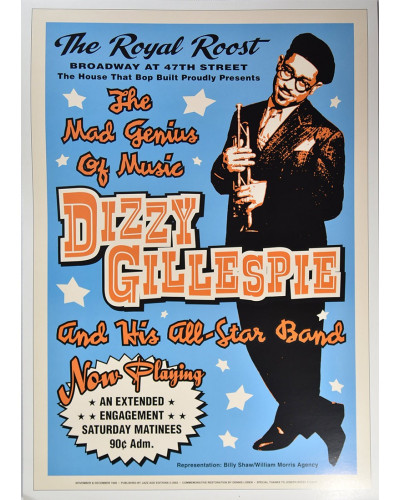 Koncertné plagát Dizzy Gillespie, The Royal Roost in NYC, 1948