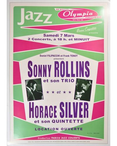 Koncertné plagát Sonny Rolins + H.Silver, 1964