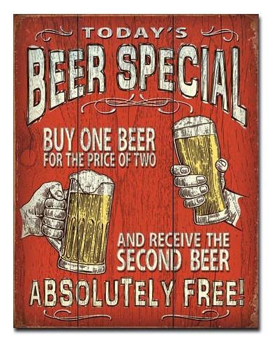 Plechová ceduľa Todays Beer Special 40 cm x 32 cm