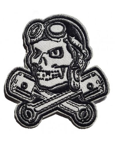 Moto nášivka Rockabilly Lebka s piestami 4 cm x 7,5 cm