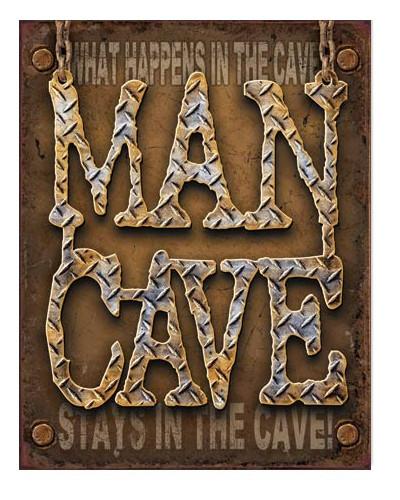 Plechová ceduľa Man Cave - Diamond Plate 40 cm x 32 cm