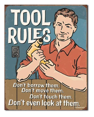 Plechová ceduľa Tool Rules 40 cm x 32 cm