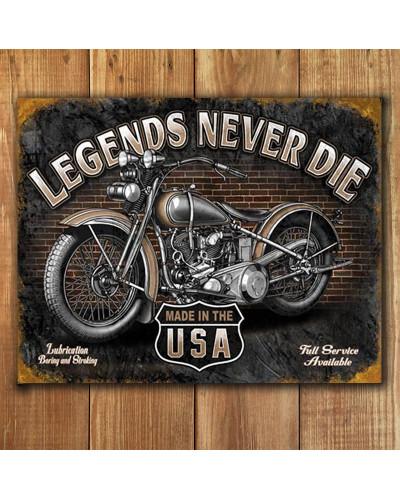 Plechová ceduľa Legends Never Die 40 cm x 32 cm p