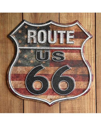 Plechová ceduľa Route 66 shield US Flag p
