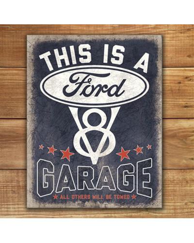 Plechová ceduľa V8 Ford Garage 32cm x 40 cm p