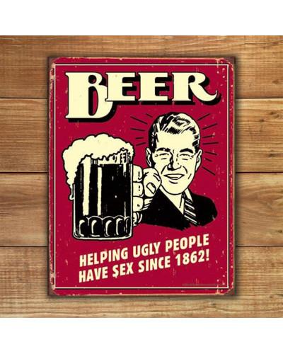 Plechová ceduľa Beer - Ugly People 40 cm x 32 cm w