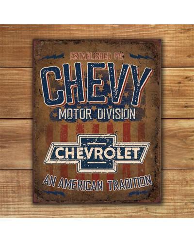 Plechová ceduľa Chevy - American Tradition 40 cm x 32 cm w