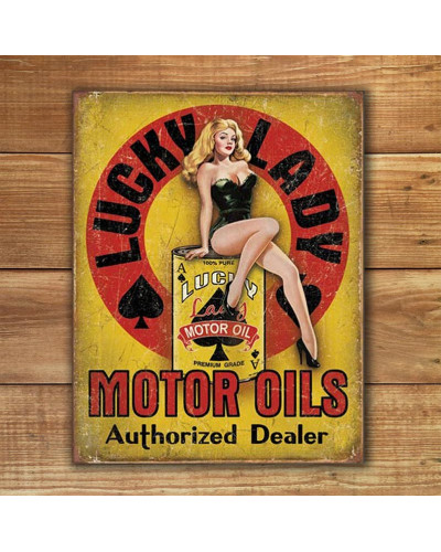 Plechová ceduľa Lucky Lady Motor Oil 40 cm x 32 cm w