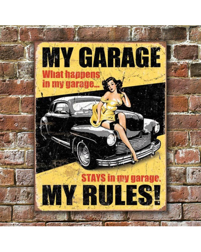 Plechová ceduľa My Garage My Rules 40 cm x 32 cm w