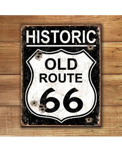 Plechová ceduľa Old Route 66 - Weathered 40 cm x 32 cm w