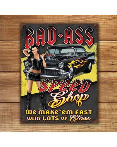 Plechová ceduľa Bad Ass Speed Shop 40 cm x 32 cm w