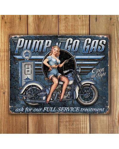 Plechová ceduľa Pump n Go Gas 40 cm x 32 cm w