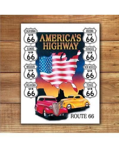 Plechová ceduľa Americas Highway 40 cm x 32 cm w