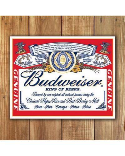Plechová ceduľa Budweiser - Label 40 cm x 32 cm w