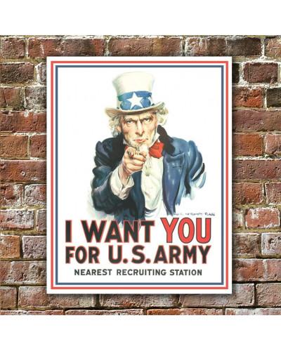 Plechová ceduľa Uncle Sam I Want You 40 cm x 32 cm w