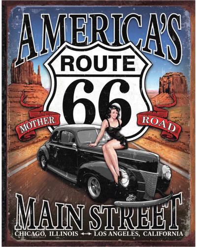 Plechová ceduľa Route 66 - America 's Main Street 40 cm x 32 cm