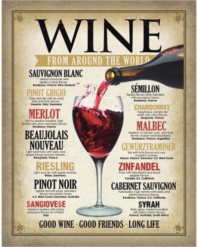Plechová ceduľa Wine Around the World 40 cm x 32 cm