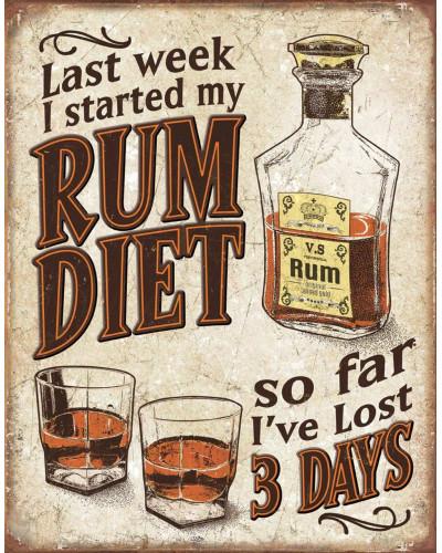 Plechová ceduľa Rum Diet 32 cm x 40 cm