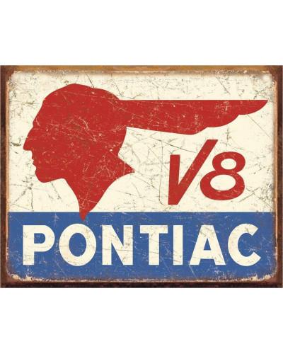 Plechová ceduľa Pontiac V8 40 cm x 32 cm
