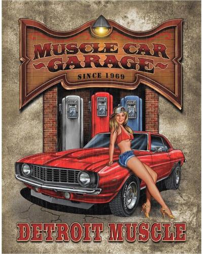 Plechová ceduľa Legends - Muscle Car Garage 40 cm x 32 cm