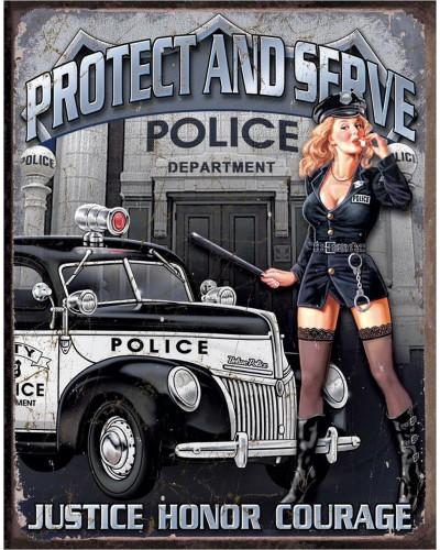 Ceduľa Police Dept - Protect & Serve 40 cm x 32 cm