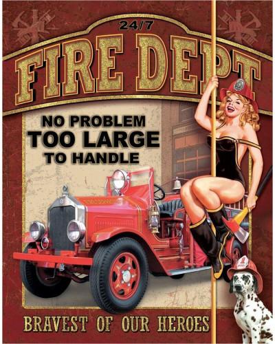 Plechová ceduľa Fire Dept - No Problem 40 cm x 32 cm