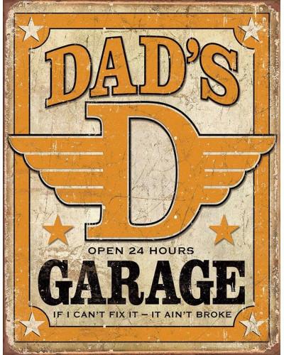 Plechová ceduľa Dads Garage 40 cm x 32 cm