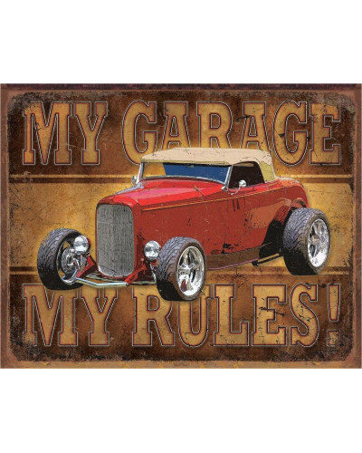 Plechová ceduľa My Garage - ROD 40 cm x 32 cm